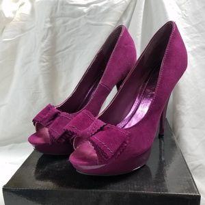 Purple Peep toe platform stilettos